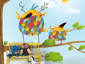 Αστεία πουλιά Παιδικά Ταπετσαρίες Τοίχου 100 x 100 cm