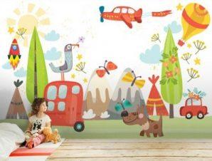 Εκδρομή στην φύση Παιδικά Ταπετσαρίες Τοίχου 100 x 100 εκ.