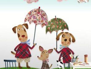 Οικογένεια σκύλων Παιδικά Ταπετσαρίες Τοίχου 100 x 100 εκ.