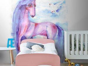 Ροζ Μονόκερος Παιδικά Ταπετσαρίες Τοίχου 116 x 86 cm