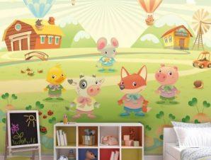 Φάρμα ζώων με αερόστατα Παιδικά Ταπετσαρίες Τοίχου 100 x 100 εκ.