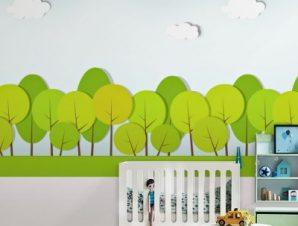 Πράσινα στρογγυλά δέντρα Παιδικά Ταπετσαρίες Τοίχου 100 x 100 εκ.