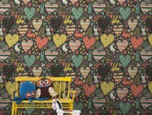 Καρδούλες και λαγουδάκια Παιδικά Ταπετσαρίες Τοίχου 100 x 100 cm
