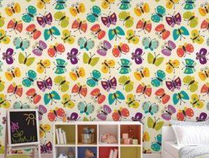 Μοτίβο με πεταλούδες Παιδικά Ταπετσαρίες Τοίχου 100 x 100 εκ.