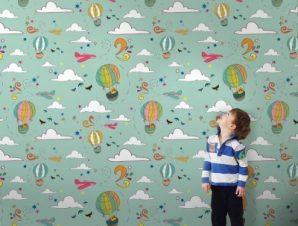 Αερόστατα και συννεφάκια Παιδικά Ταπετσαρίες Τοίχου 100 x 100 εκ.