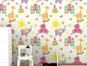 Ζωάκια και ήλιος Παιδικά Ταπετσαρίες Τοίχου 100 x 100 εκ.