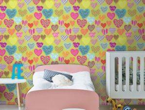 Πολύχρωμες καρδούλες Παιδικά Ταπετσαρίες Τοίχου 100 x 100 εκ.