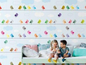 Πολύχρωμα πουλιά σε σχοινιά Παιδικά Ταπετσαρίες Τοίχου 100 x 100 εκ.