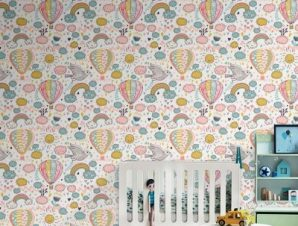 Αερόστατα, ήλιος, ουράνιο τόξο Παιδικά Ταπετσαρίες Τοίχου 100 x 100 εκ.