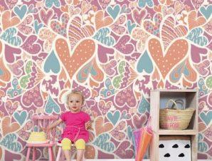 Ζωγραφιστές καρδιές Παιδικά Ταπετσαρίες Τοίχου 125 x 110 cm
