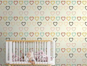 Ρετρό μοτίβο με καρδούλες Παιδικά Ταπετσαρίες Τοίχου 100 x 100 εκ.