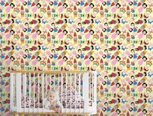 Μοτίβο με ήρωες παραμυθιών Παιδικά Ταπετσαρίες Τοίχου 100 x 100 cm