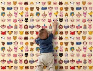 Μοτίβο με ζώα Παιδικά Ταπετσαρίες Τοίχου 100 x 100 εκ.