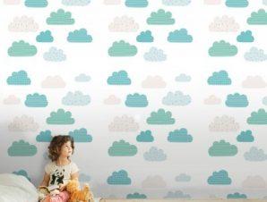 Μοτίβο με σύννεφα Παιδικά Ταπετσαρίες Τοίχου 100 x 100 εκ.