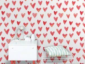 Καρδιές σε ακουαρέλα Παιδικά Ταπετσαρίες Τοίχου 100 x 100 εκ.