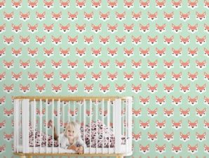 Μοτίβο με αλεπού Παιδικά Ταπετσαρίες Τοίχου 100 x 100 cm