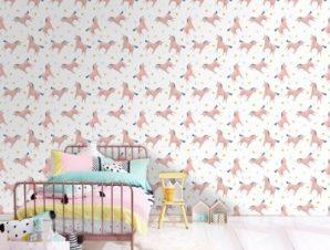 Μοτίβο με μονόκερους Παιδικά Ταπετσαρίες Τοίχου 100 x 100 εκ.