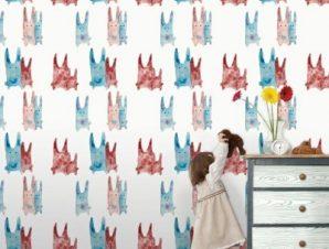 Μοτίβο με κουνελάκια Παιδικά Ταπετσαρίες Τοίχου 100 x 100 εκ.