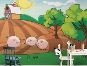 Γουρουνάκια στη φάρμα Παιδικά Ταπετσαρίες Τοίχου 100 x 100 εκ.