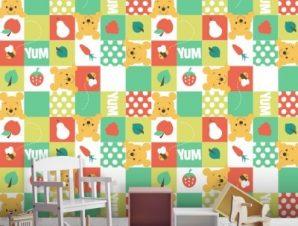 Μοτίβο με το Winnie και φρούτα! Παιδικά Ταπετσαρίες Τοίχου 100 x 100 εκ.