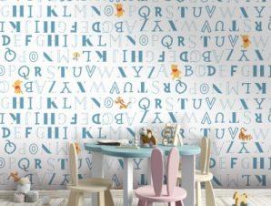 Μοτίβο με την αλφαβήτα, Winnie the Pooh Παιδικά Ταπετσαρίες Τοίχου 100 x 100 εκ.