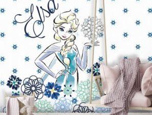Elsa with flowers, Frozen Παιδικά Ταπετσαρίες Τοίχου 100 x 100 εκ.