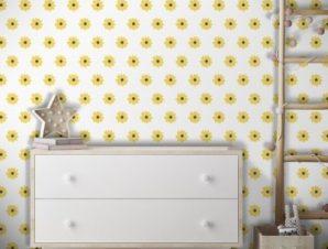 Κίτρινα λουλουδάκια, Frozen Παιδικά Ταπετσαρίες Τοίχου 100 x 100 εκ.