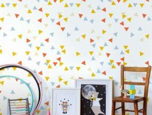Triangles pattern, Winnie the Pooh Παιδικά Ταπετσαρίες Τοίχου 100 x 100 εκ.