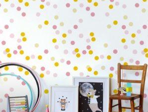 Yellow-Pink dots,Winnie The Pooh Παιδικά Ταπετσαρίες Τοίχου 100 x 100 εκ.
