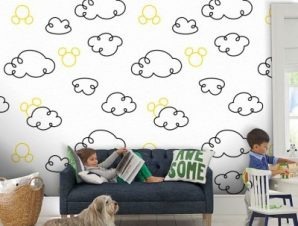 Σκίτσο από σύννεφα, Μίκυ Μάους! Παιδικά Ταπετσαρίες Τοίχου 100 x 100 εκ.
