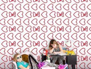 Μοτίβο από καρδιές και φιόγκους της Μίνυ Μάους! Παιδικά Ταπετσαρίες Τοίχου 100 x 100 εκ.