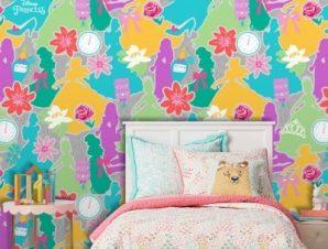 Πολύχρωμο μοτίβο με πριγκίπισσες, Princess Παιδικά Ταπετσαρίες Τοίχου 100 x 100 εκ.