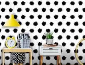 Μάυρο πουά, Mickey Mouse! Παιδικά Ταπετσαρίες Τοίχου 100 x 100 εκ.
