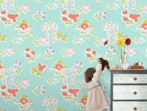 Μπλέ μοτίβο με την Μίνι Μάους! Παιδικά Ταπετσαρίες Τοίχου 100 x 100 εκ.