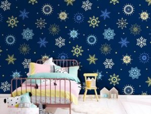Χειμωνιάτικο μοτίβο, Frozen Παιδικά Ταπετσαρίες Τοίχου 100 x 100 εκ.