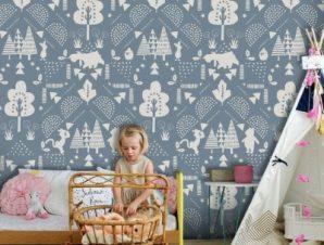 Winnie the Pooh pattern Παιδικά Ταπετσαρίες Τοίχου 100 x 100 εκ.