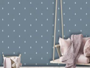 Μπλε μοτίβο, Winnie the Pooh Παιδικά Ταπετσαρίες Τοίχου 100 x 100 εκ.