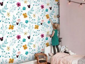 Floral pattern, Minnie Mouse! Παιδικά Ταπετσαρίες Τοίχου 100 x 100 εκ.