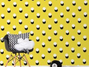 Κίτρινο Μοτίβο με άσπρες βούλες για την παρέα του Mickey Mouse Παιδικά Ταπετσαρίες Τοίχου 100 x 100 εκ.