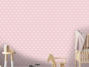 Ροζ πουά μοτίβο, Πριγκίπισσες! Παιδικά Ταπετσαρίες Τοίχου 100 x 100 εκ.