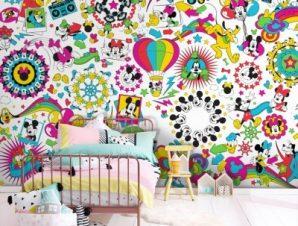 Μοτίβο με ζωγραφιές του Mickey! Παιδικά Ταπετσαρίες Τοίχου 100 x 100 εκ.