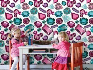 Διαμάντια, Μίνι Μάους! Παιδικά Ταπετσαρίες Τοίχου 100 x 100 εκ.