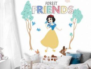 Φίλοι του δάσους, Χιονάτη! Παιδικά Ταπετσαρίες Τοίχου 100 x 100 εκ.