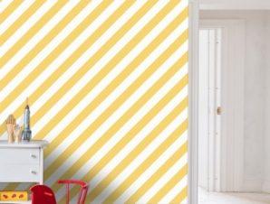 Κίτρινο ριγέ μοτίβο, Πριγκίπισσες! Παιδικά Ταπετσαρίες Τοίχου 100 x 100 εκ.