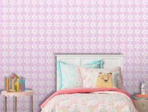 Ροζ μοτίβο με λουλούδια, Mickey Mouse! Παιδικά Ταπετσαρίες Τοίχου 100 x 100 εκ.