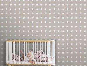 Μοτίβο με αστέρια, Μίκυ Μάους! Παιδικά Ταπετσαρίες Τοίχου 100 x 100 εκ.