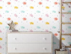 Μοτίβο με αστεράκια, Mickey Mouse! Παιδικά Ταπετσαρίες Τοίχου 100 x 100 εκ.