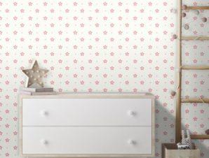 Μοτίβο με ροζ λουλούδια! Παιδικά Ταπετσαρίες Τοίχου 100 x 100 εκ.