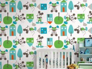 Μοτίβο με τον Mickey σε πόλη! Παιδικά Ταπετσαρίες Τοίχου 100 x 100 εκ.