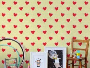 Καρδούλες, Mickey Παιδικά Ταπετσαρίες Τοίχου 100 x 100 εκ.
